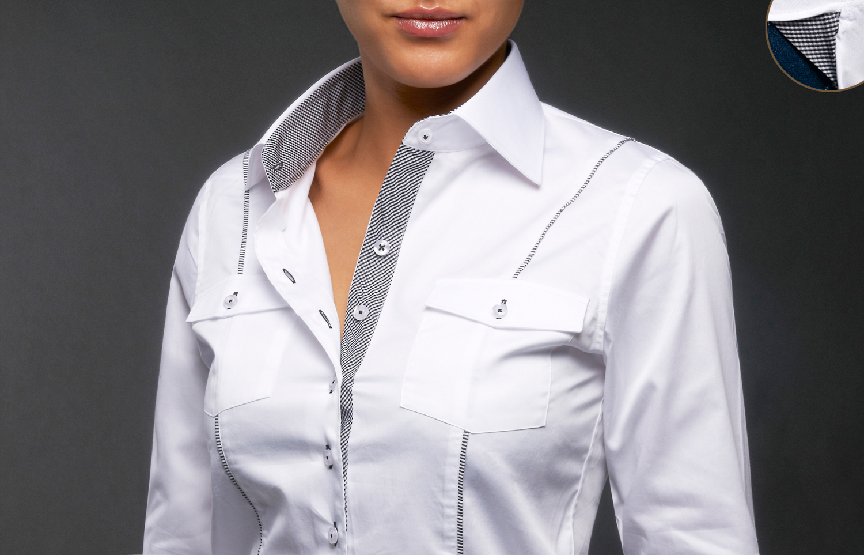 chemisier blanc femme chic pr t porter f minin et masculin. Black Bedroom Furniture Sets. Home Design Ideas